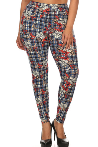 Plaid With Floral Print Overlay Knit Legging With Elastic Waistband, And High Waist Fit