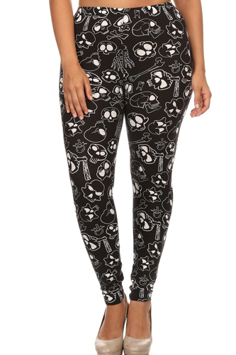 Plus Size Print, Full Length Leggings In A Fitted Style With A Banded High Waist