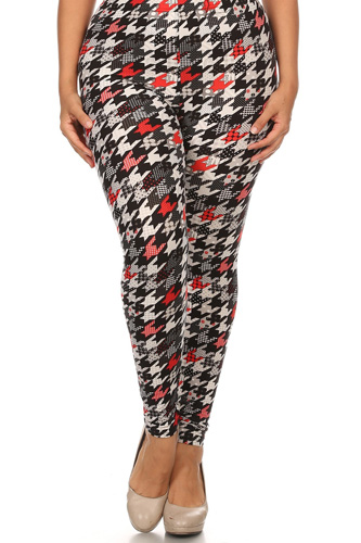 Plus Size Print, Full Length Leggings In A Fitted Style With A Banded High Waist.
