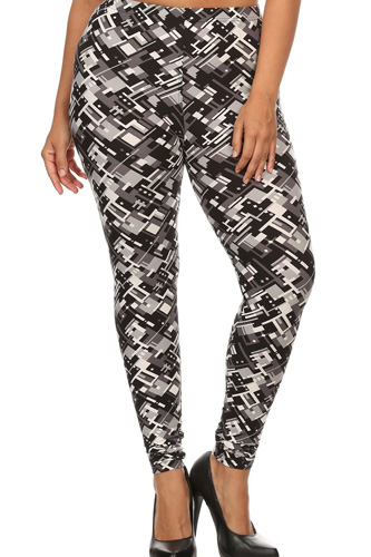 Plus Size Abstract Geometric Pattern Printed Knit Legging With Elastic Waistband, And High Waist Fit.