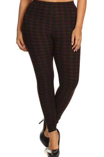 Plus Size Houndstooth Print, Full Length Leggings In A Slim Fitting Style With A Banded High Waist
