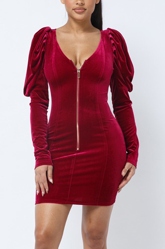 Soft Velvet Pleated Puff Sleeve Low V Neck Front And Back Mini Dress