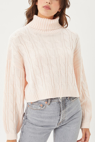 Turtle Neck Loose Fit Cable Knit Sweater