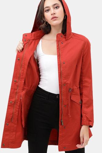 Long Line Hooded Utility Anorak Jacket Coat