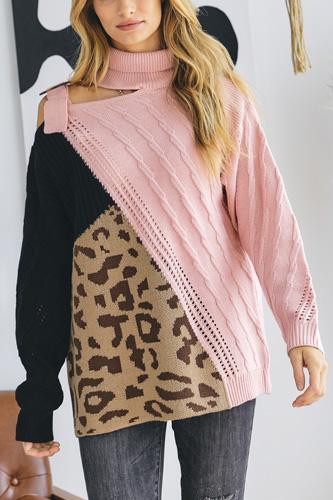 Turtle Neck Color Block Cutout Sweater