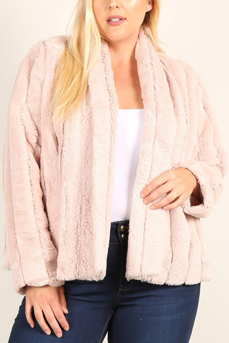 Plus Size Faux Fur Jackets With Open Front And Loose Fit
