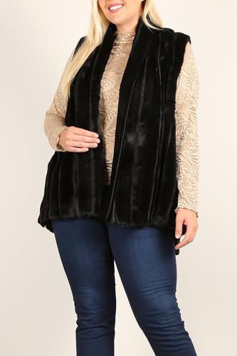 Plus Size Faux Fur Vest Jacket With Open Front, Hi-lo Hem, And Pockets