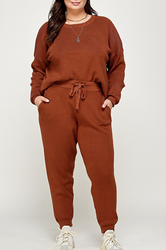 Plus Size Solid Sweater Knit Top And Pant Set