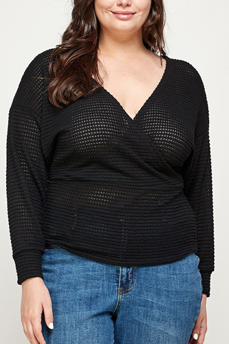 Plus Size Textured Waffle Sweater Knit Top