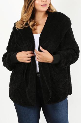 Plus Size Faux Fur Teddy Jacket