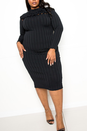 Bodycon Sweater Dress With Knot Detail