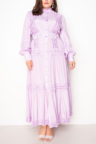 Belted Shirt Dress With Ruffle Detail