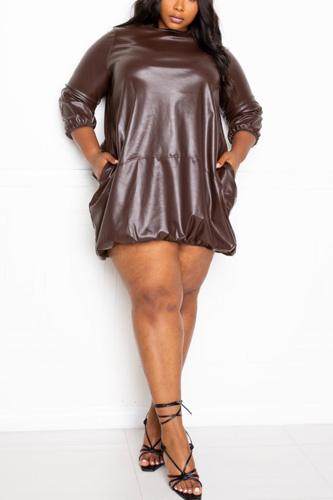 Bubbled Hem Pu Dress