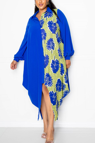 Print Drapy Shirt Maxi Dress