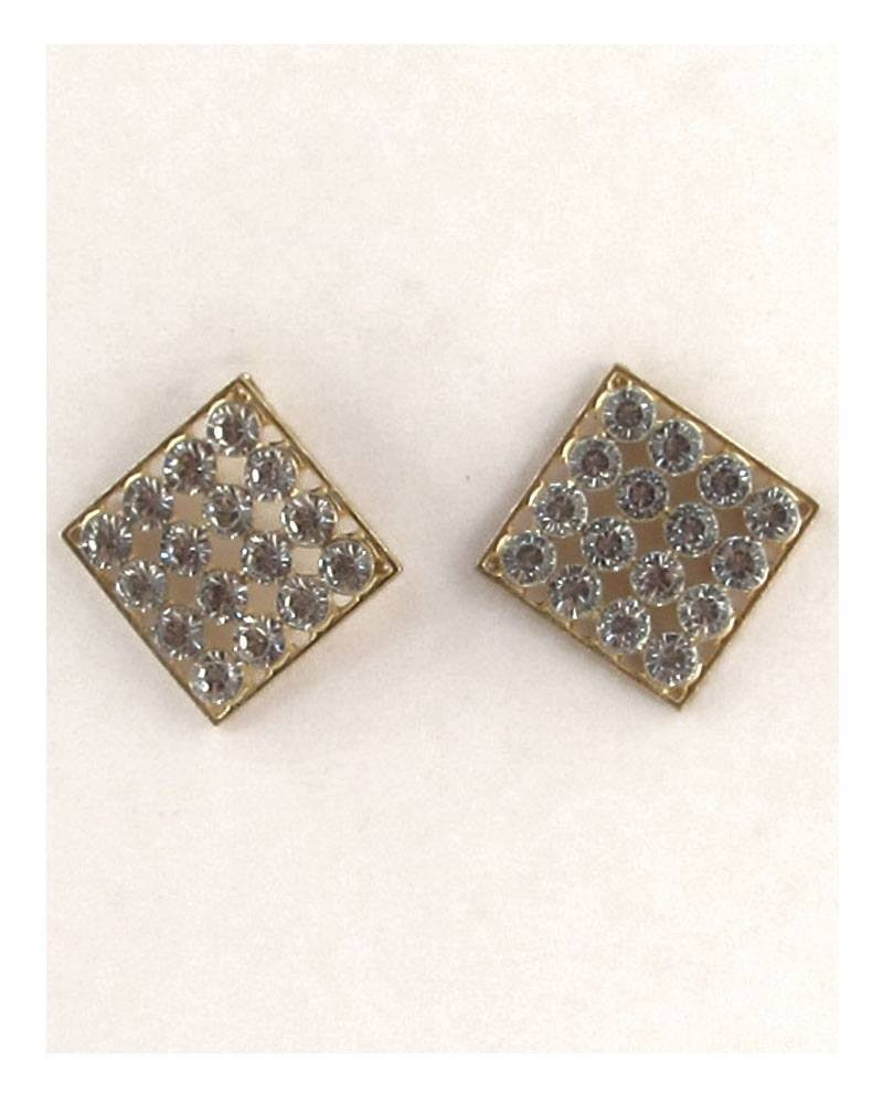 Diamond shape rhinestone earrings