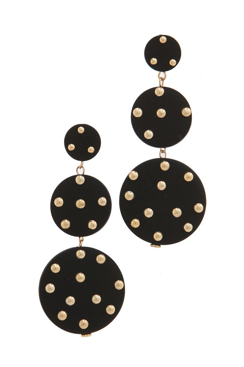 Circle stud linked drop earring