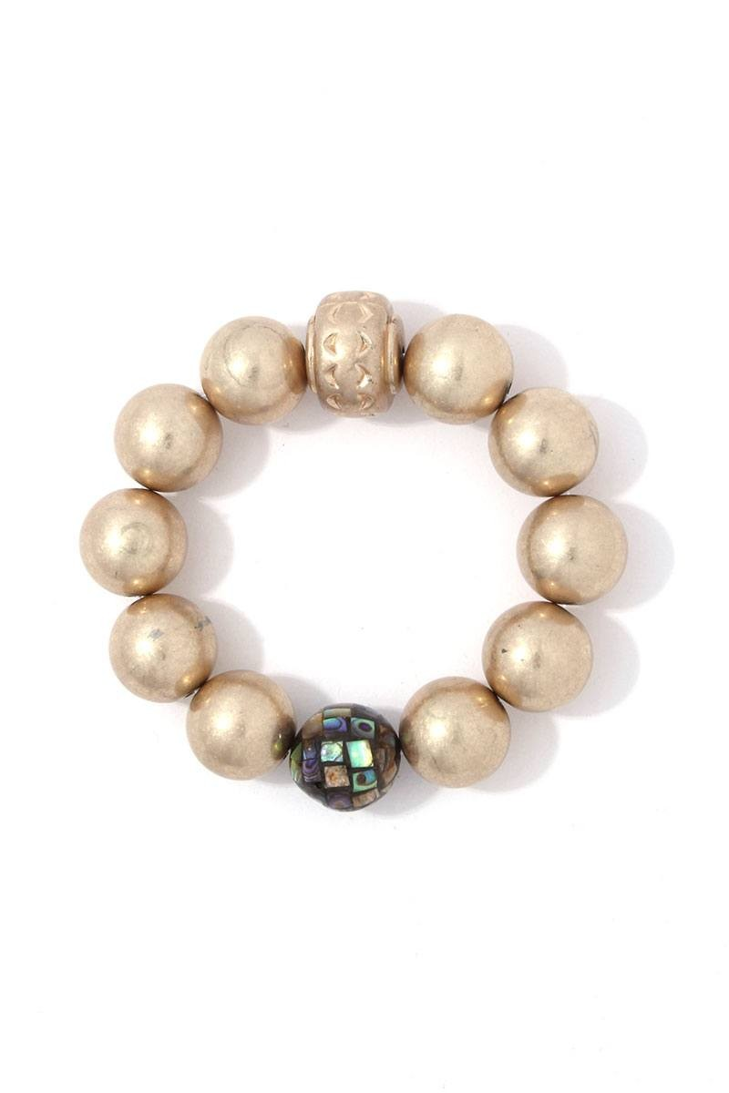 Metallic beaded stretch bracelet