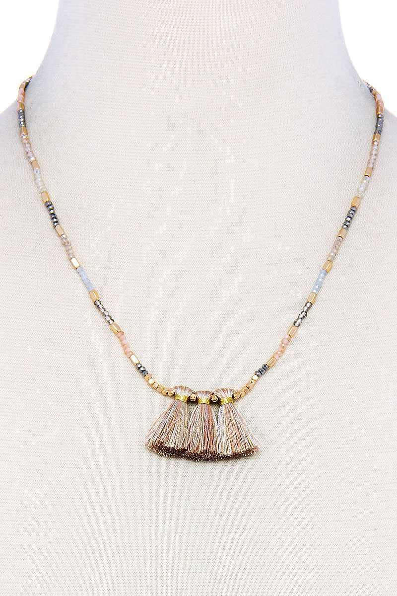 Modern Triple Tassel Beaded Necklace