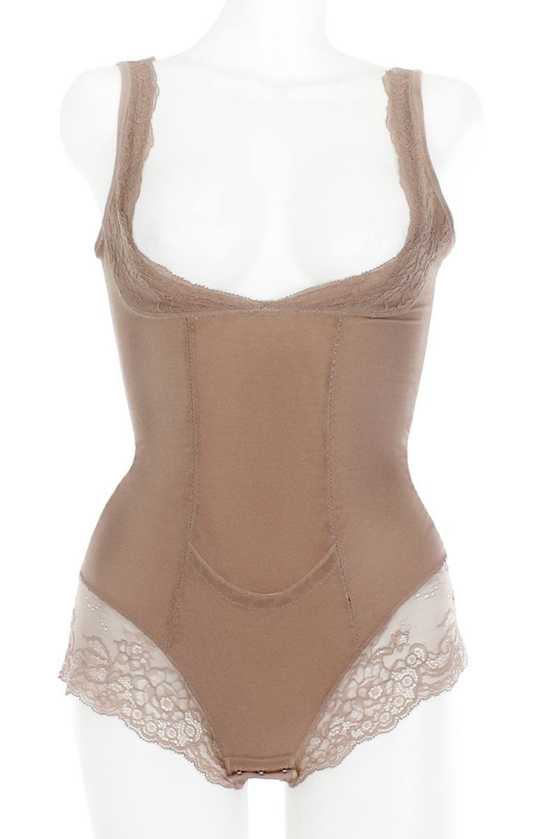 Mesh With Floral Lace Shapewear Bodysuit