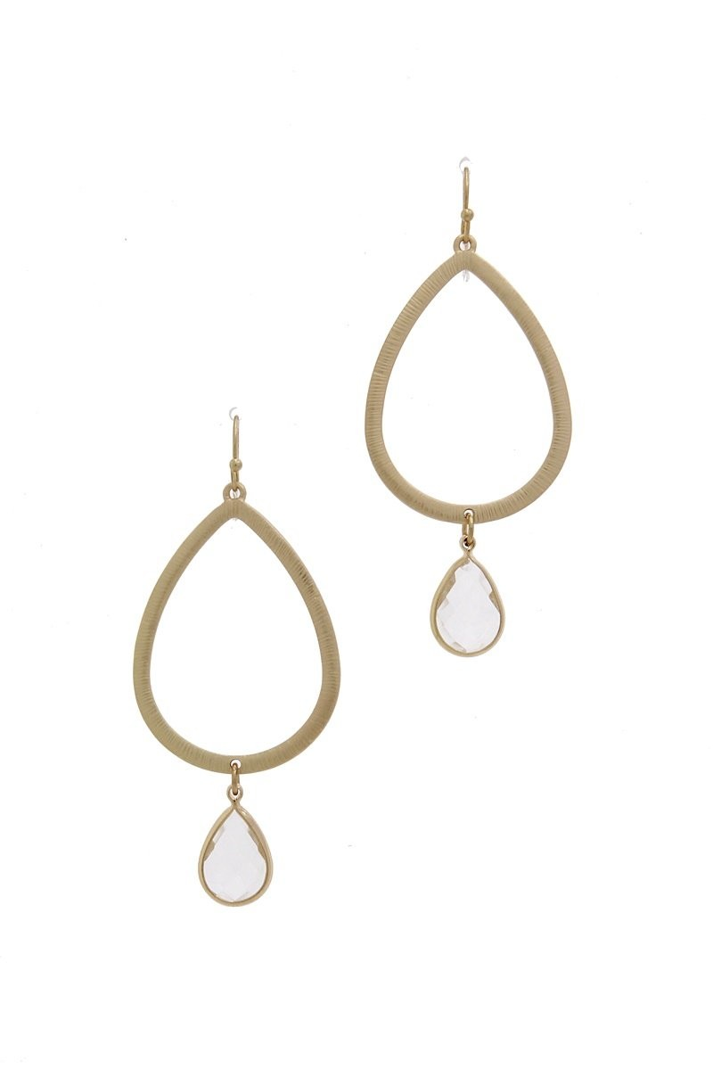 Textured Metal Cut Out Teardrop Earring