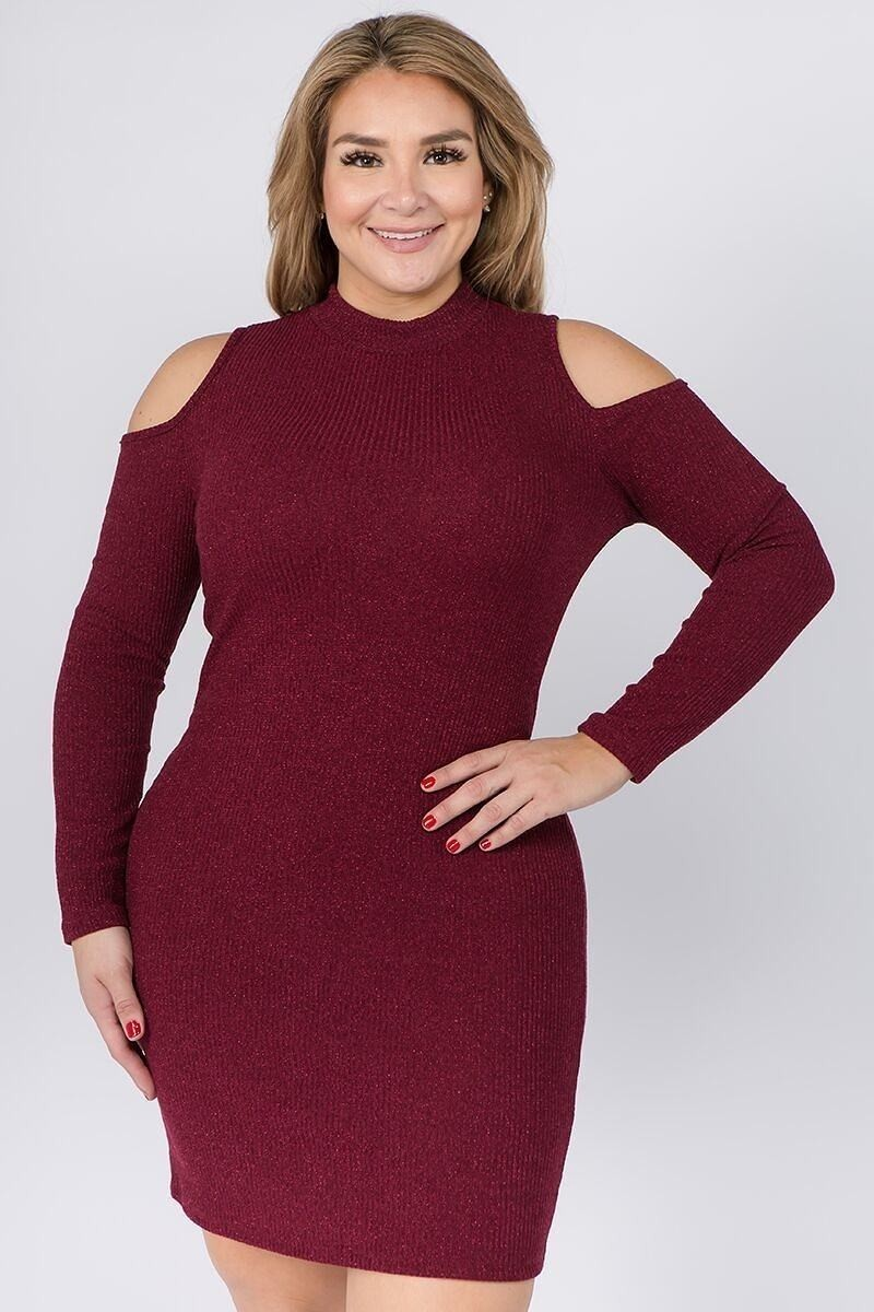 Embellished Solid Rib Knit Cold Shoulder Long Sleeve Dress