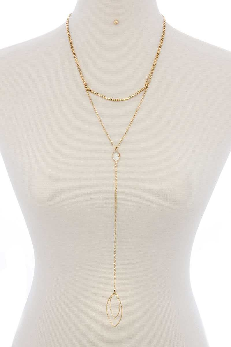 Cutout Pointed Oval Y-shaped Layered Long Necklace