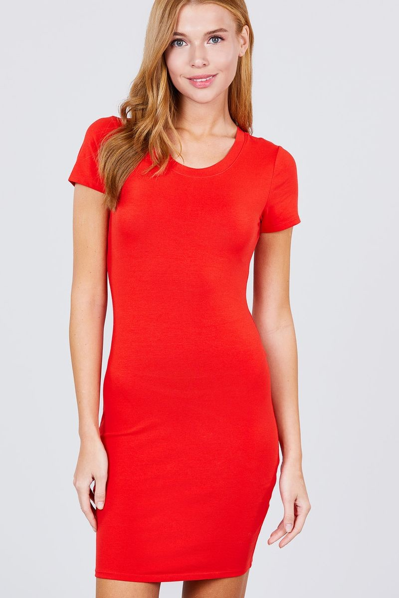 Short Sleeve Round Neck Knit Mini Dress