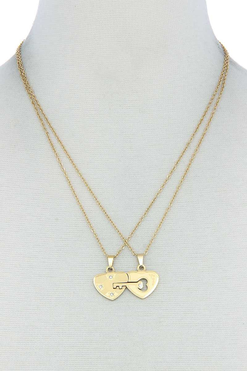 Double Heart Key Necklace Set