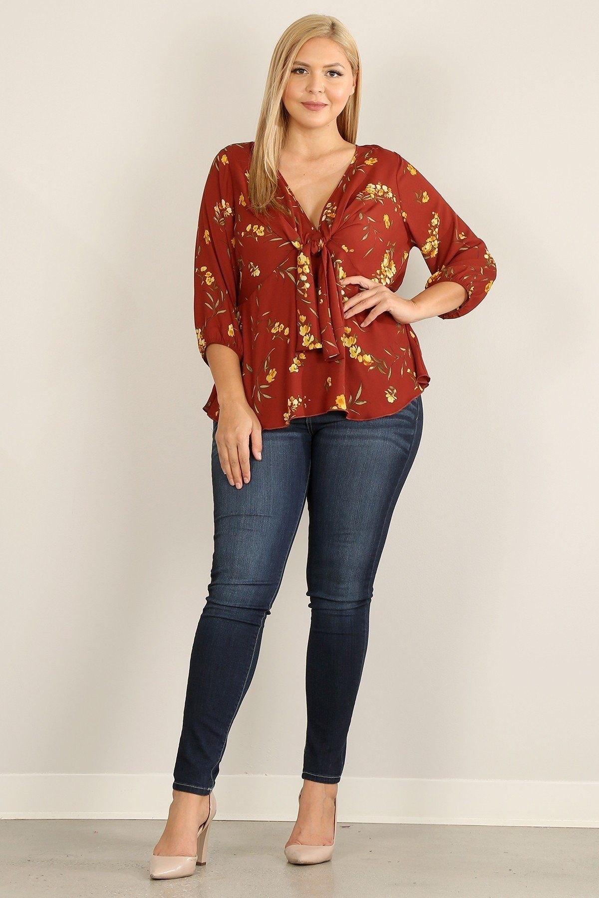 Plus Size Floral Print 3/4 Sleeve Top With V-neckline And Relaxed Fit