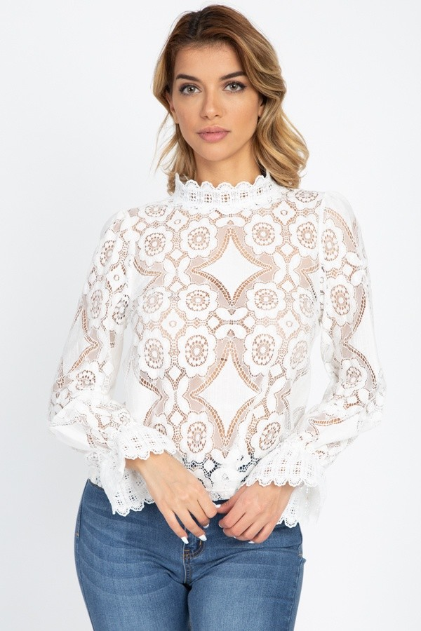 Sheer Floral & Geo Crochet Lace Top