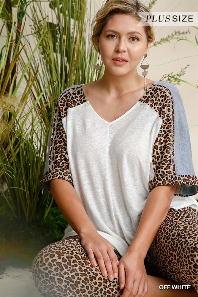Linen Blend Animal Print See Through V-neck Colorblock Top With Side Slits