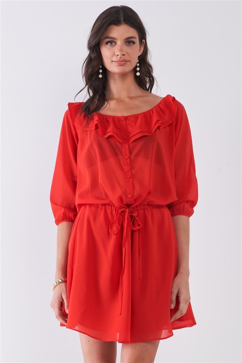 Flame Red Boat Neck Ruffle Collar Midi Sleeve Self-tie Waist Front Button Down Mini Dress